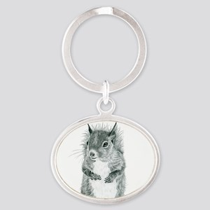 Cute Squirrel Drawing Oval Keychain